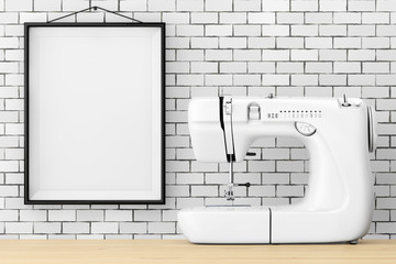 Modern White Sewing Machine in front of Brick Wall with Blank Frame. 3d Rendering