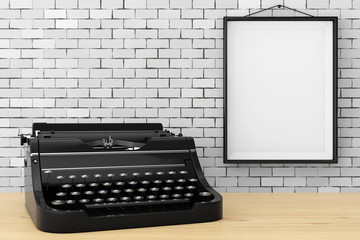 Old Vintage Retro Typewriter in front of Brick Wall with Blank Frame. 3d Rendering