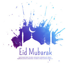 eid mubarak greeting with blue ink splatter and mosque silhouette