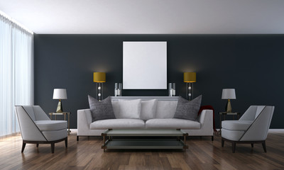 The modern living room and lounge area and wall texture design