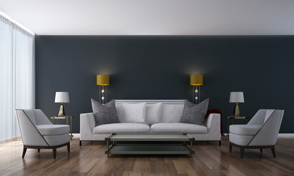 The modern living room and lounge area and wall texture
