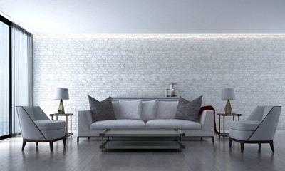 The luxury living room and lounge area and brick wall texture