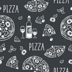 Seamless pattern with pizza for pizzeria menu, textile, wallpapers, gift wrap and scrapbook. Hand drawn with chalk on the blackboard. Black and white.Vector illustration.