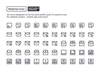 Email and Message Icon.Material Outline Icons set for website and mobile app ,Pixel perfect icon, Editable Stroke.