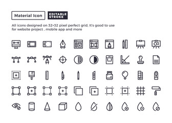 Design Element Icon.Material Outline Icons set for website and mobile app ,Pixel perfect icon, Editable Stroke.