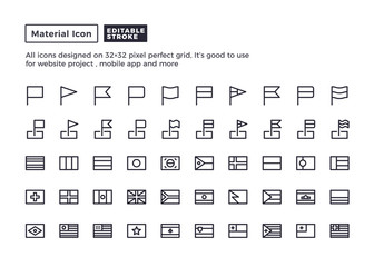Flag Icon.Material Outline Icons set for website and mobile app ,Pixel perfect icon, Editable Stroke.
