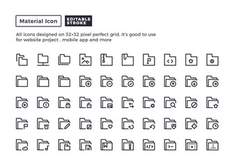Folder and Document Icon.Material Outline Icons set for website and mobile app ,Pixel perfect icon, Editable Stroke.