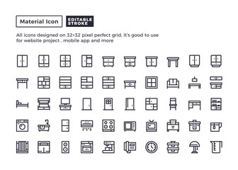 Furniture and Household Icon.Material Outline Icons set for website and mobile app ,Pixel perfect icon, Editable Stroke.