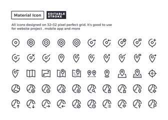 Map and Location Icon.Material Outline Icons set for website and mobile app ,Pixel perfect icon, Editable Stroke.