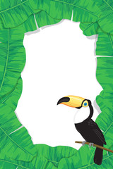 Tropical frame made of banana leaves and toucan with space for text.