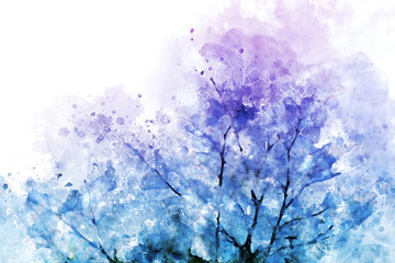 Abstract  tree image in blue and purple, digital watercolor painting