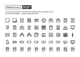 Office Equipment Icon.Material Outline Icons set for website and mobile app ,Pixel perfect icon, Editable Stroke.