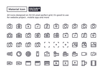 Camera and Photography Icon.Material Outline Icons set for website and mobile app ,Pixel perfect icon, Editable Stroke.