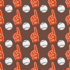 Seamless baseball balls pattern background equipment game vector illustration