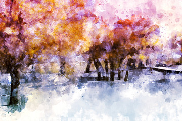 Trees in autumn with yellow and pink leaves, digital watercolor painting