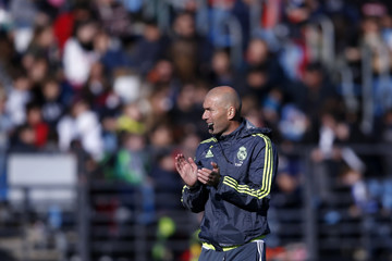 Real Madrid's new coach Zidane conducts a training session in Valdebebas