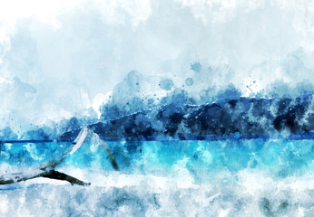Sand beach at the island,  blue water in the sea, digital watercolor painting
