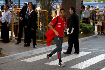 Chile's national soccer team player Claudio Bravo arrives at the Sheraton hotel in Montevideo