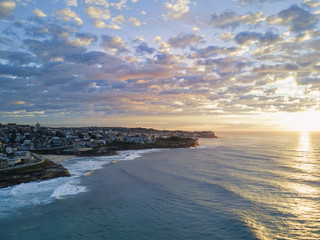 Aerial view of Bronte beach in the morning