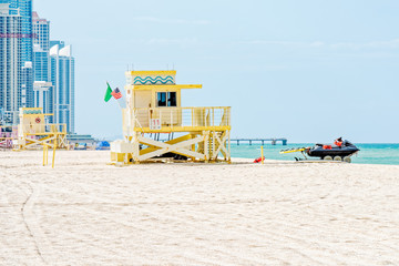 Lifeguard Tower #11 on Haulover Beach with jetski ready, Miami, Florida