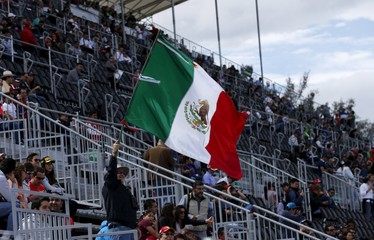 A fan waves a Mexico flag on the tribune during the first practice session of the Mexican F1 Grand Prix in Mexico City