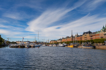 STOCKHOLM - SEPTEMBER, 15, 2016: Boats along street of Stockholm