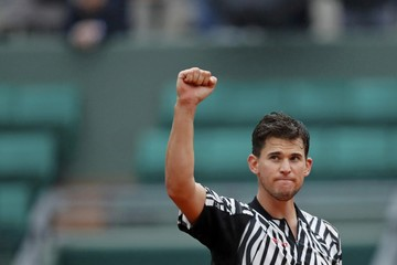 Tennis - French Open Mens Singles Quarterfinal match - Roland Garros - Dominic Thiem of Austria vs David Goffin of Belgium