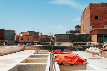 colorful leather drying out in a tannery at marrakech, Morocco