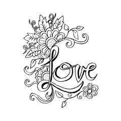 Doodle Floral with text 'love'.