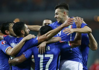 Italy's El Shaarawy celebrates his goal with team mates during their Euro 2016 group H qualifying soccer match against Azerbaijan at Olympic Stadium in Baku