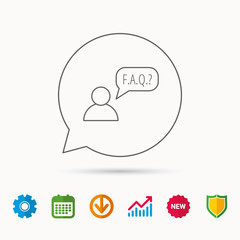 FAQ service icon. Support speech bubble sign. Human symbol. Calendar, Graph chart and Cogwheel signs. Download and Shield web icons. Vector