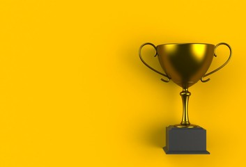 Trophy on yellow plank, 3D rendering