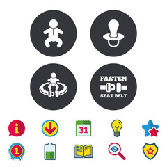 Baby infants icons. Fasten seat belt symbols.