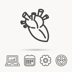 Heart icon. Human organ sign. Surgical transplantation symbol. Notebook, Calendar and Cogwheel signs. Download arrow web icon. Vector