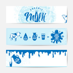 Vector illustration of fresh milky banner design template