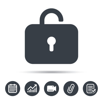 Lock icon. Privacy locker sign. Private access symbol. Calendar, chart and checklist signs. Video camera and attach clip web icons. Vector