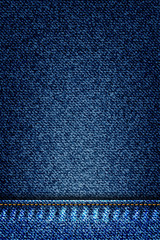 Denim texture pattern grunge print. Grid faded jeans texture background. Blue frayed fabric. Vector.