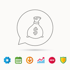 Sack with dollars icon. Money bag sign. Banking symbol. Calendar, Graph chart and Cogwheel signs. Download and Shield web icons. Vector