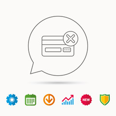 Remove credit card icon. Shopping sign. Calendar, Graph chart and Cogwheel signs. Download and Shield web icons. Vector