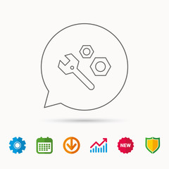 Repair icon. Spanner tool with screw-nut sign. Calendar, Graph chart and Cogwheel signs. Download and Shield web icons. Vector