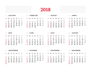 Calendar for 2018 year on white background. Vector design print template. Week starts on Sunday. Stationery design