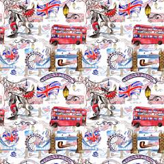 Watercolor London pattern  illustration. Great Britain hand drawn symbols.
