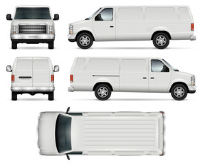 Panel van vector template for car branding and advertising. Isolated truck on white background. All layers and groups well organized for easy editing and recolor. View from side, front, back, top.
