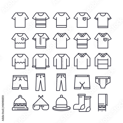Set of Clothing Outline Icon design   All Icon designed on 64x64