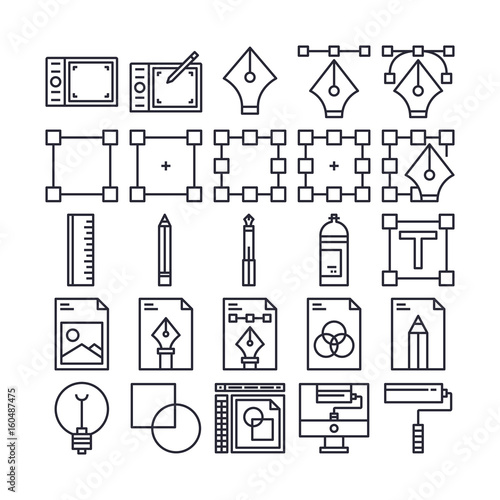 Set of Art and Design Element Outline Icon design   All Icon