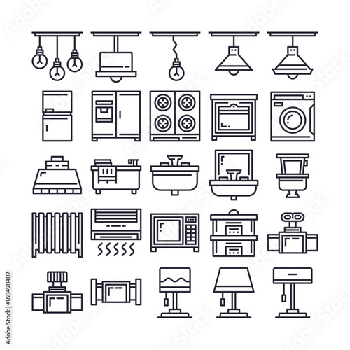 Set of Furniture and Household Outline Icon design   All