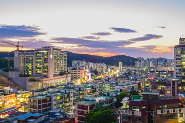 Canvas Prints Countryside town night scape in seoul korea