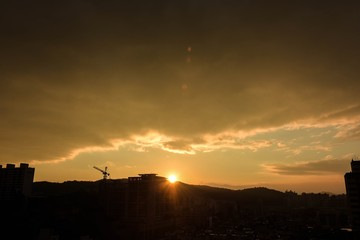 sunset sky scape on the town in seoul korea