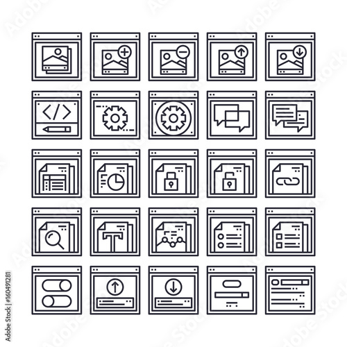 Set of Web Browser and Interface Outline Icon design   All Icon