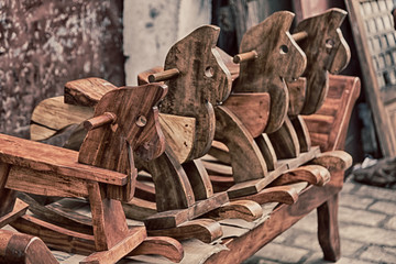 in a old market rocking horse made in wood
